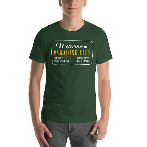 Welcome to Paradise City. Grass is green, girls are pretty. Funny song lyric t-shirt