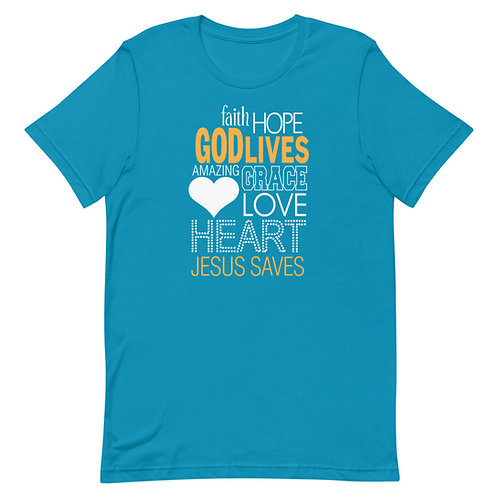 God Lives Jesus Saves Fun Christian Unisex T-Shirt