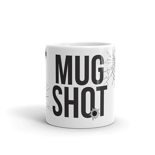Mug Shot Mug Front View with Bullet Holes