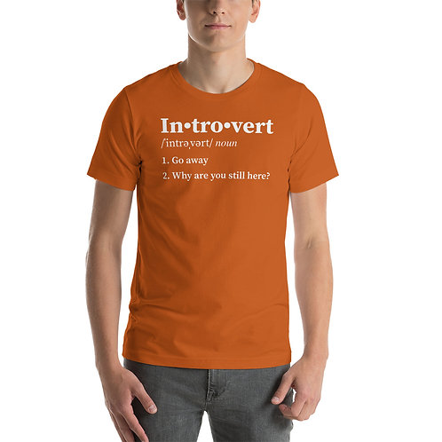 Introvert Definition. 1 Go away. 2 Why are you still here? Funny Unisex T-Shirt
