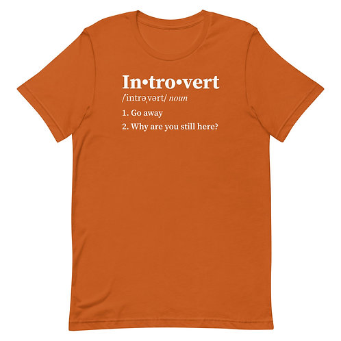 Introvert Definition. 1 Go away. 2 Why are you still here? Funny Introvert T-Shirt
