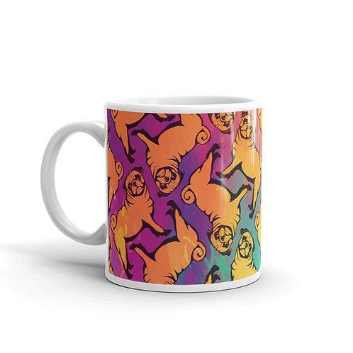 Fun Colorful Pug Pattern Mug