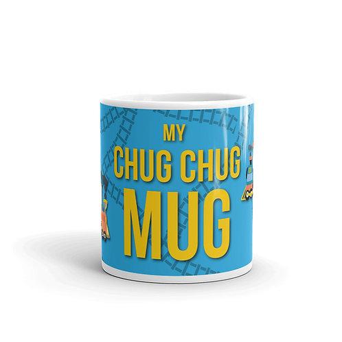 Cute Chug Chug Mug Front View with Trains