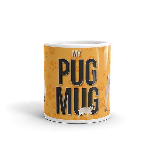Fun Pug Mug Front View with paw prints and pugs