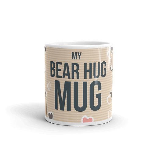 Cute Bear Hug Mug Front View with bears and hearts