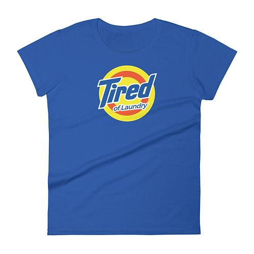 Tired of Laundry Funny Logo Parody Women's T-shirt