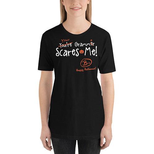 Your Grammar Scares Me Funny Halloween Teacher Unisex T-Shirt
