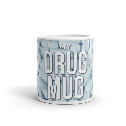 Drug Mug Front View with white pills