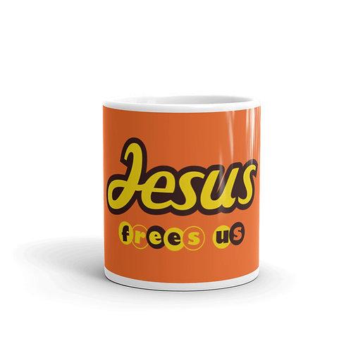 Jesus Frees Us. Funny Christian Mug