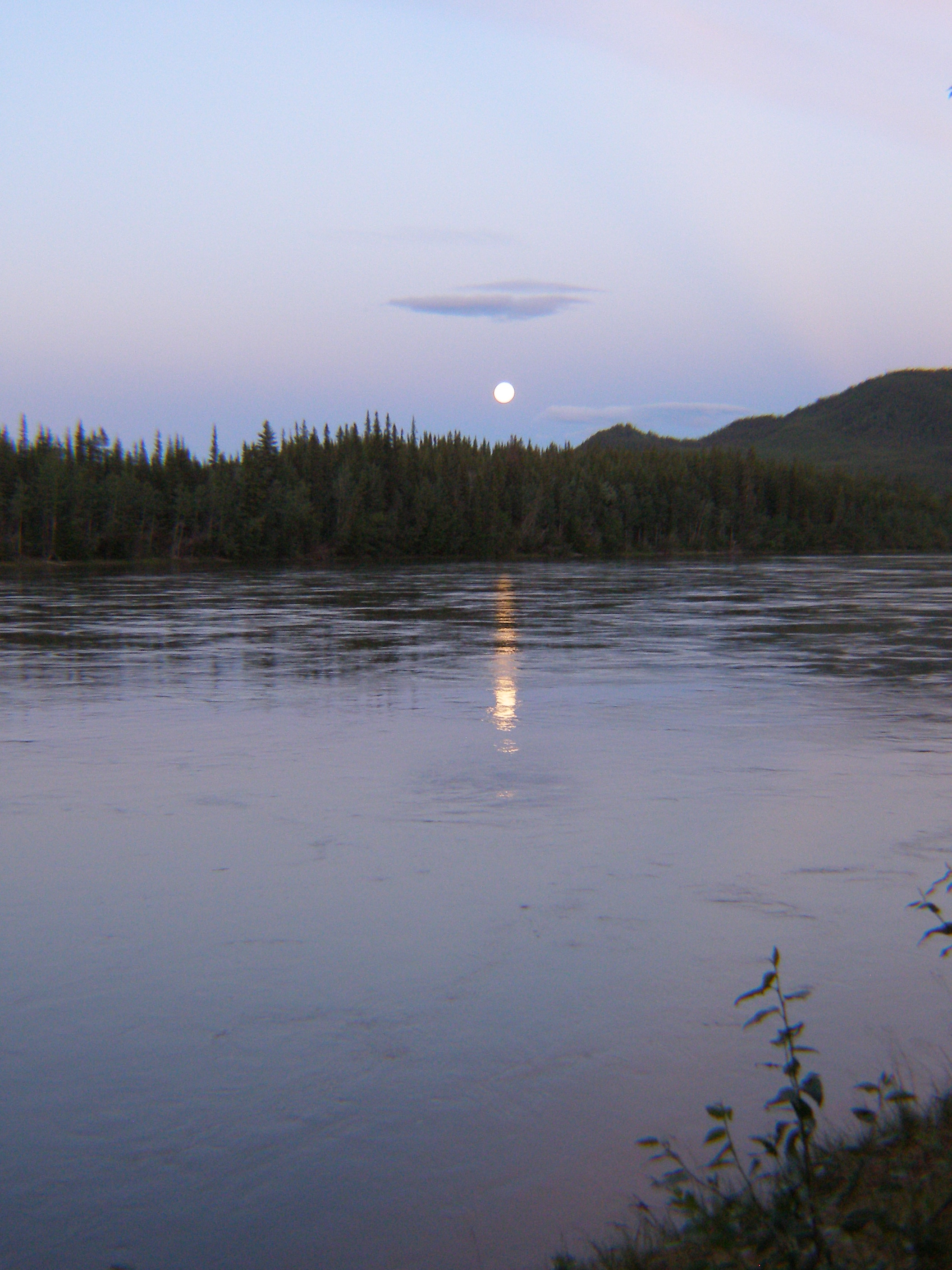 Full moon over the Yukon River