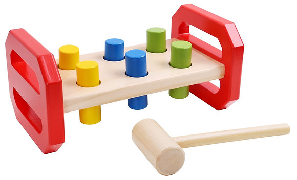 Wooden hammer and colourful pegs