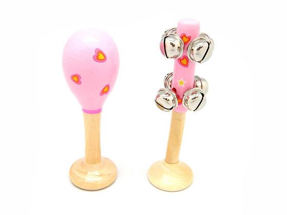 Pink Heart Maraca and Bellstick