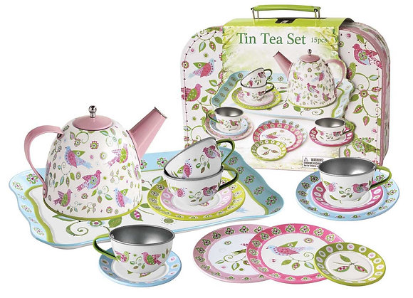 Bird Tin Tea Set with Case