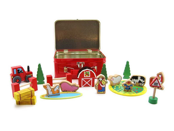 Farm Set in Tin Carry Case