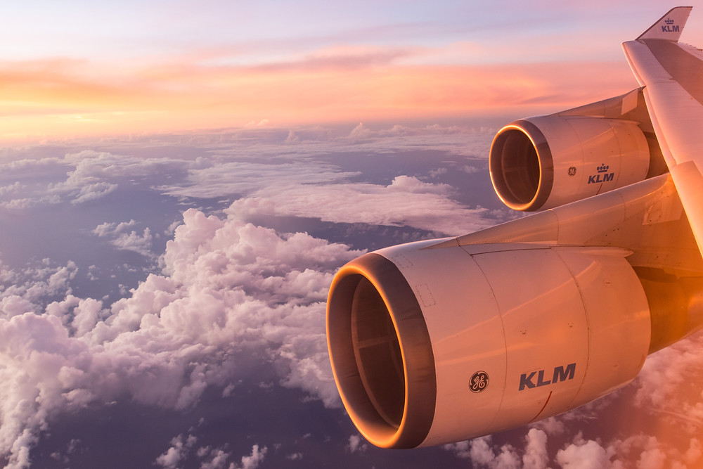 klm flight above the sky