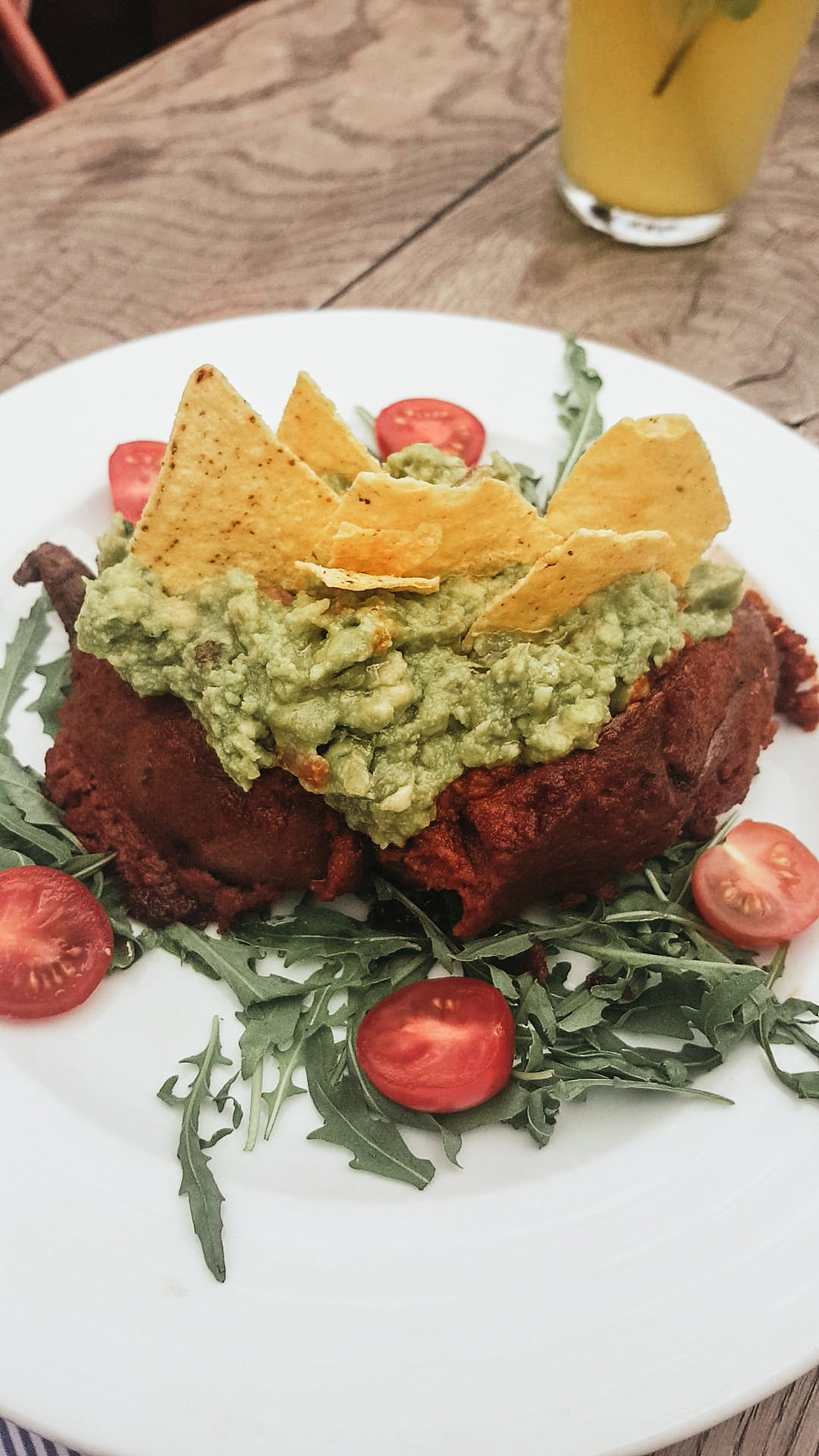 Vegan sweet potato with guacamole