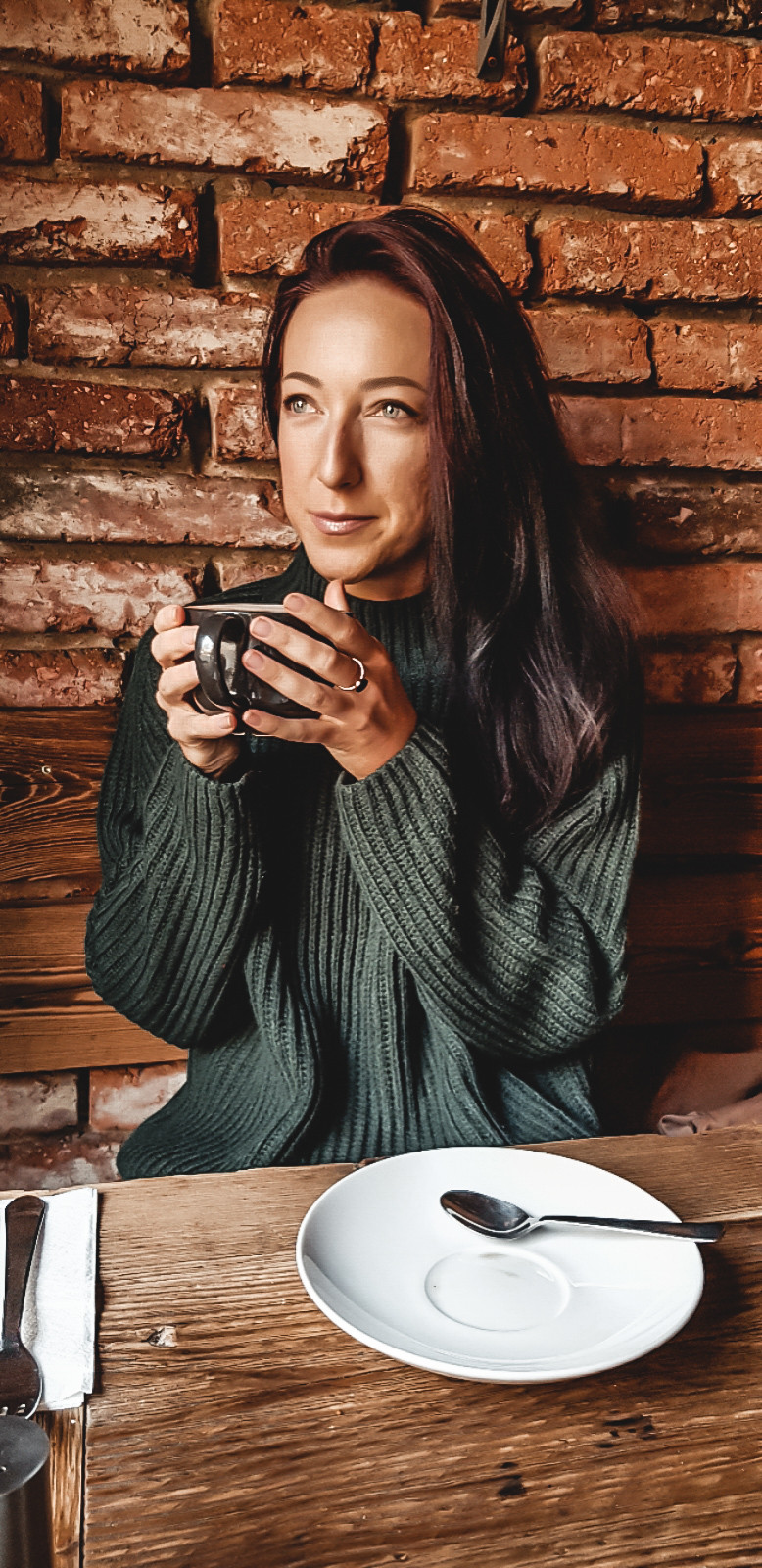 Hygge moment woman with tea