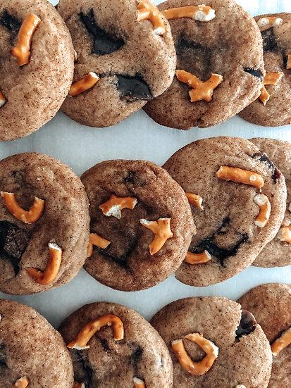 One Dozen Chocolate Caramel Pretzel Cookies