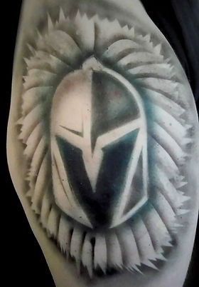Vegas Golden Knights hockey team custom airbrush tattoo