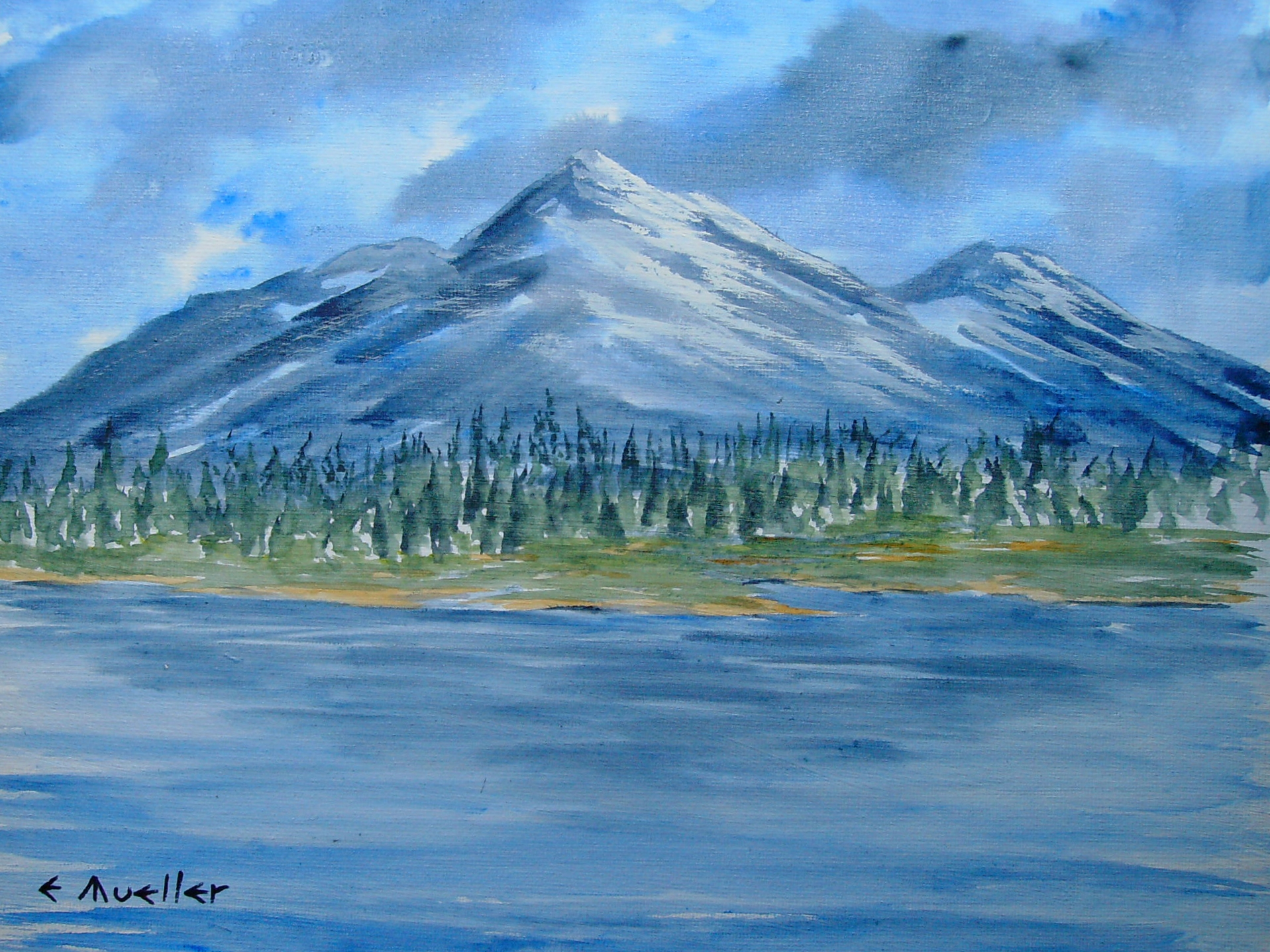 Snowy Mountain Watercolor on Canvas