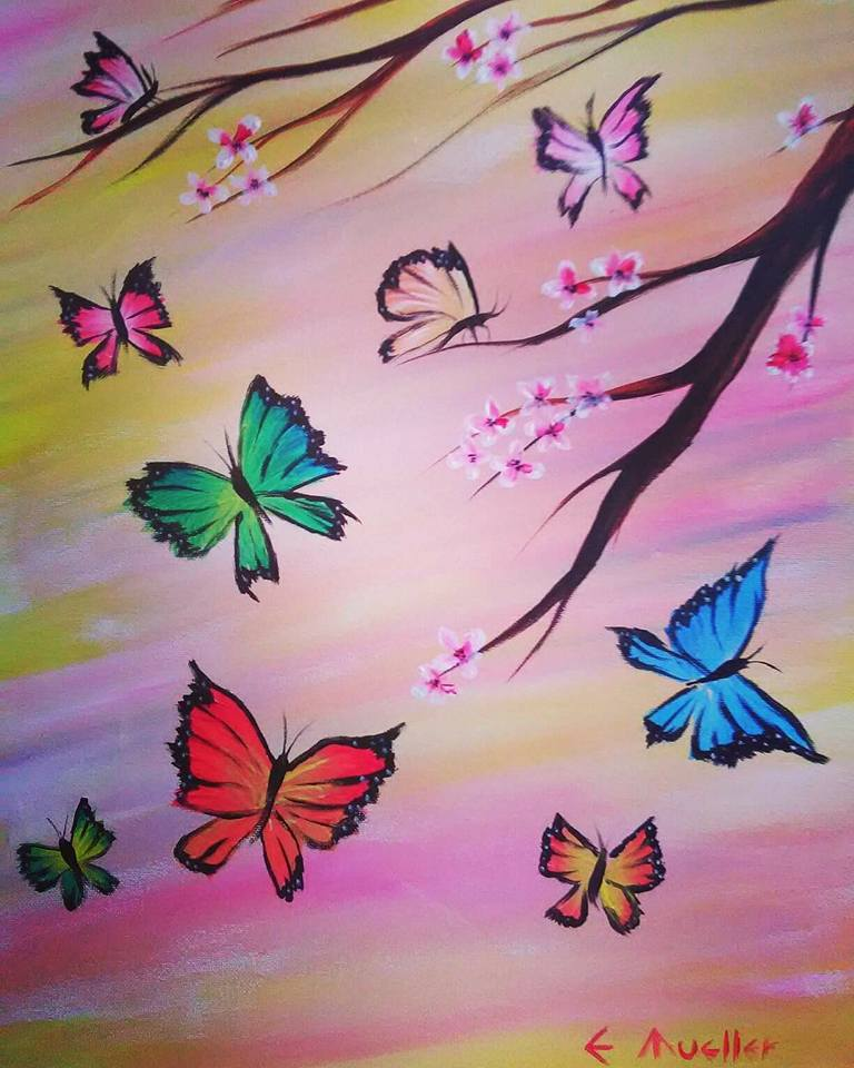 Butterfly Sunset in Acrylic
