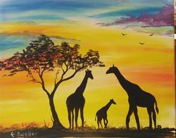 Giraffe Sunset (Acrylic)
