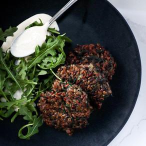 Wild Rice & Spinach Fritters w/ Garlicky Vegan Cashew Aioli