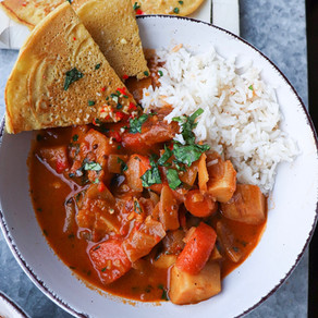 Harissa Coconut Milk Curry & Socca