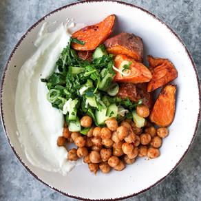 Harissa Chickpea & Honey Roasted Sweet Potato Bowl w/ Cucumber Herb Salad & Yogurt