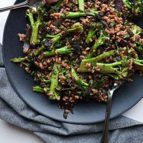 Farro w/ Charred Broccoli & Dates & Sumac Vinaigrette