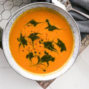 Carrot Fennel Soup w/ Carrot Top Pistachio Pesto