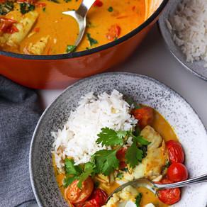 Coconut Milk Cod Curry w/ Burst Cherry Tomatoes & Rice