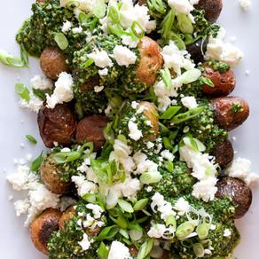Chimichurri Pesto Potatoes w/ Feta & Spring Onions