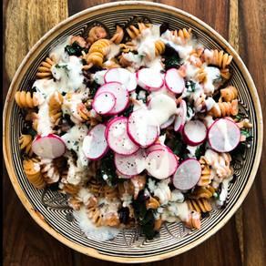 Chickpea Pasta Salad w/ Greens, Radishes & Garliky Tahini