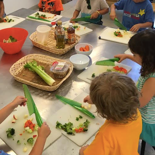 Students Learning Veggie Prep
