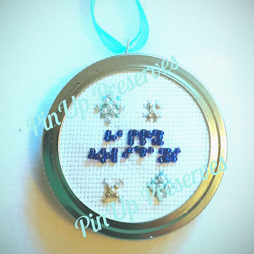 """Braille """"Happy Holidays"""" in blue beads with beaded snowflakes ornament"""