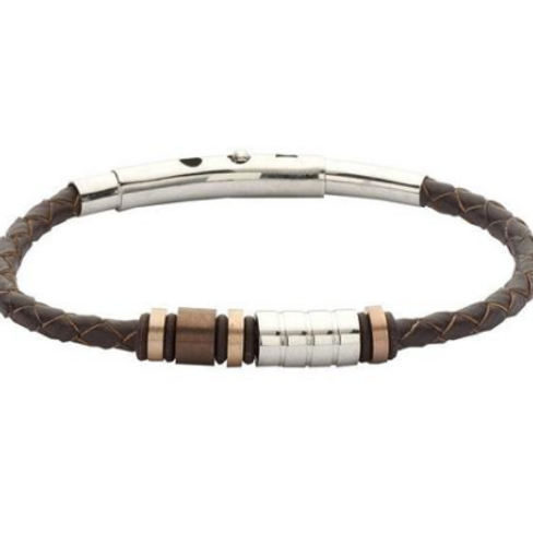 Bracelet man brown leather, steel white, black and gold plated pink