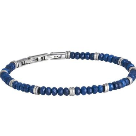 Steel Bracelet and Blue Agate