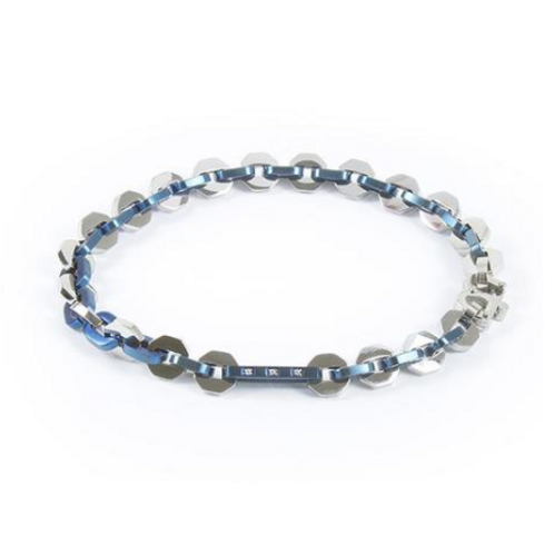 Bracelet hexlink, PVD blue and zircons