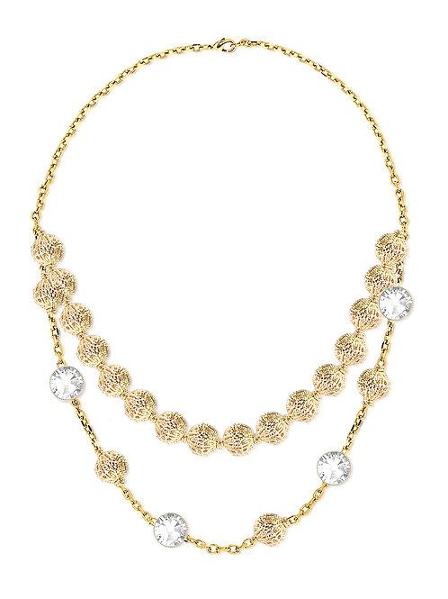 CROCHET necklace  C18 /Swarovski stones