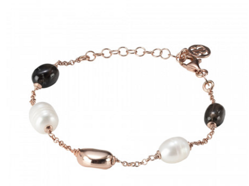 Rose gold plated bracelet with natural baroque pearls and smoky quartz