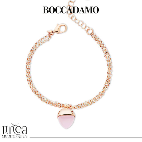 Rose gold plated double wire bracelet with rose quartz crystal