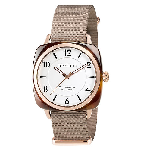 HMS TORTOISE SHELL, WHITE DIAL AND ROSE GOLD, AND TAUPE NATO STRAP