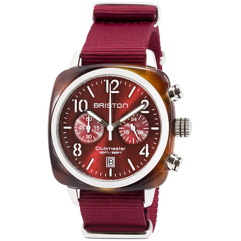 CHRONOGRAPH TORTOISE SHELL ACETATE, RED SUNRAY DIAL AND BURGUNDY NATO STRAP