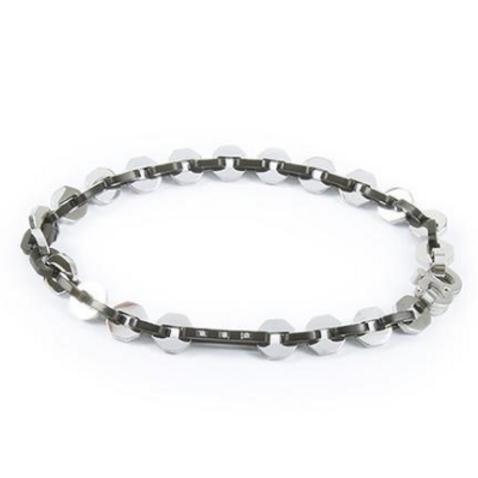 Bracelet hexlink, PVD black and zircons