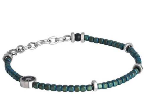 Steel Bracelet and hematite green