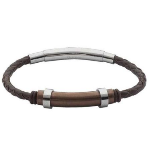 Bracelet in brown leather braided and insert in PVD rosato