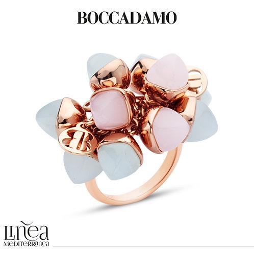 Ring with tuft of aquamarine crystals and rose quartz