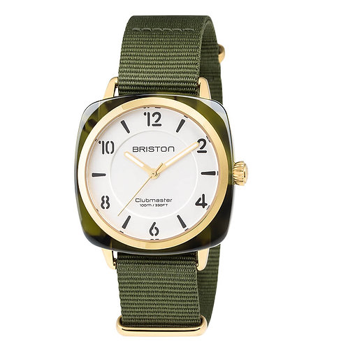 HMS GREEN TORTOISE SHELL, GOLD WHITE DIAL, AND GREEN ARMY NATO STRAP