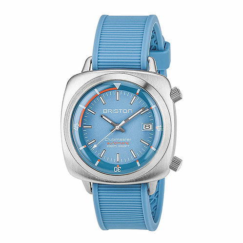HMS AUTOMATIC BRUSHED STEEL, LIGTH BLUE DIAL AND LIGTH BLUE RUBBER STRAP